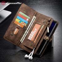 CaseMe For Samsung Galaxy Note 8 Phone Cases Genuine Leather Zipper Multifunctional Wallet 2 In1 Design Phone Full Cover Case