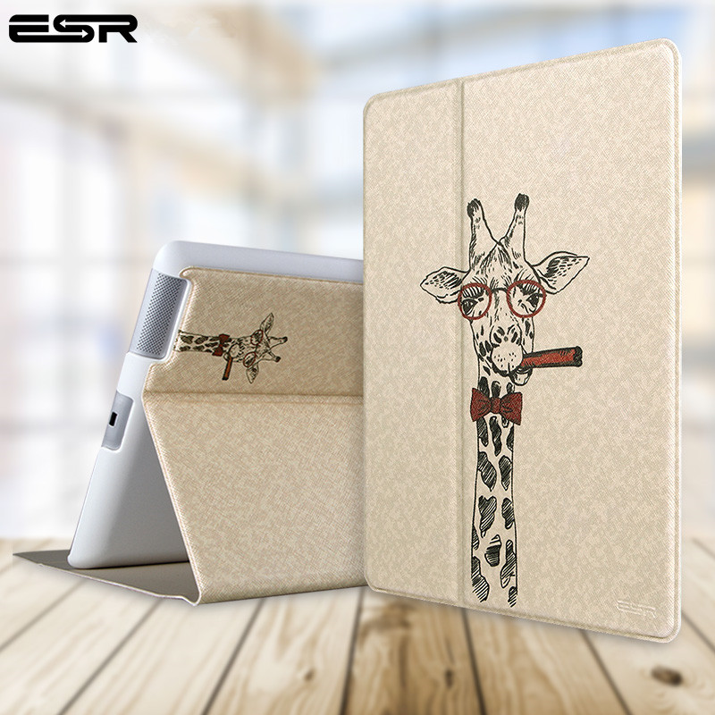 For Apple IPad 2 3 4 Case,ESR Tablet Illustration PU Leather Flip Stand Case for IPad2 IPad3 IPad4 Cover Funda Skin Shell Case for apple ipad mini 1 2 3 case grape patterns pu leather protective flip rotate tablet pc cover stand coque para housing