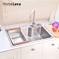 Hand-made Brushed 304# Stainless Steel Kitchen Sink faucet kitchen accessories Single Bowl 65*45*23cm