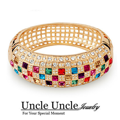 Amazing!!! Rose Gold Plated Italy Design Multicolor Austrian Crystal Luxury Queen Bangles Bracelets Wholesale