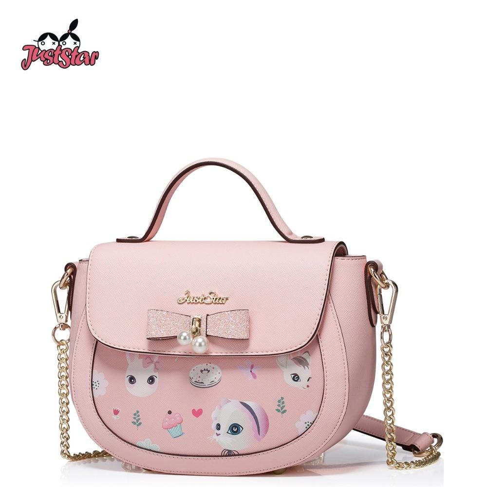 ФОТО JUST STAR Women PU Leather Handbag Ladies Fashion Small Saddle Tote Shoulder Bag Female Cartoon Printing Messenger Bags JZ4267