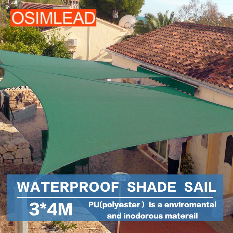 Osimlead 3 4 m waterproof sun shade sail rectangle canopy for Shade sail cost