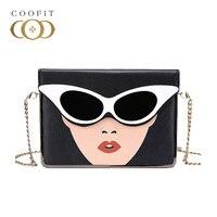 Coofit Bag Fashion Beauty Sunglasses Printing Flap Cover Messenger Bag sac a main femme de marque luxe cuir 2018 Shoulder Bags
