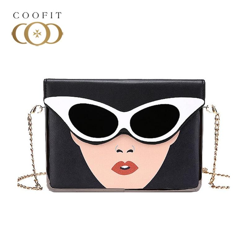 Coofit Bag Fashion Beauty Sunglasses Printing Flap Cover Messenger Bag sac a main femme de marque luxe cuir 2018 Shoulder Bags ботильоны cosmo femme elane cuir