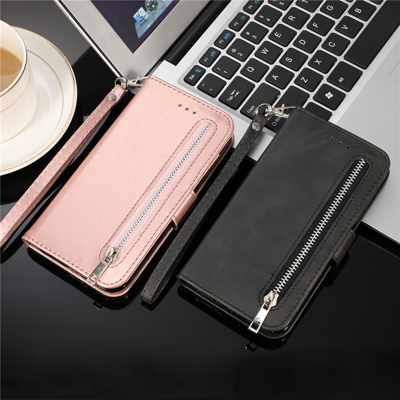 Leather Zipper Flip Cover Wallet Case For Samsung Galaxy S20 Ultra S10 S9 S8 Plus S7 Note 8 9 10 Cover 4