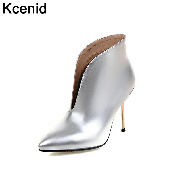 eff9930553b7 Kcenid New front deep V opening pointed toe ankle boots slip on sexy thin  high heels shoes woman fashion winter boots silver red