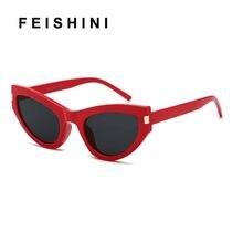 aba195531 Moda de Luxo Branco Liso de BOA Qualidade Olho de Gato Óculos De Sol Das  Mulheres Do Vintage Elegante Oculos UV400 Vermelho Verã.