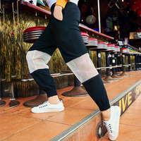 Женские летние Штаны 2018 Женская мода Сращивание Черный с эластичной талией луч движения ног брюки женские свободные штаны Гарун