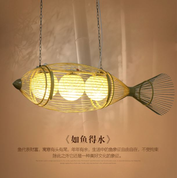Peixe lustre moderno e minimalista restaurante lustre personalidade criativa arte arte sala de chá de bambu bambu lustre pendurado