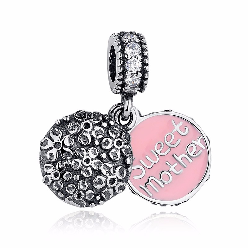 Silver Family Charm Beads - sweet mother