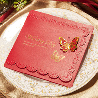 Customized Print White Red Lace Butterfly Buckle Beautiful Wedding Invitation Wedding Gift Greeting Card Party Decoration