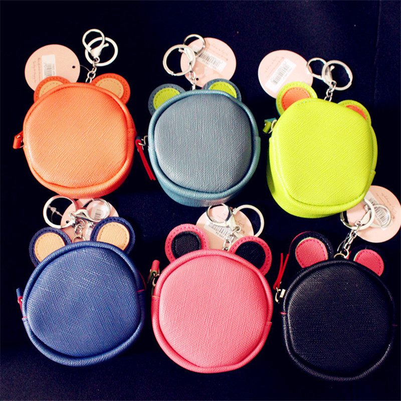 New Candy Color PU Leather Change Wallet with Key Ring Lovely Waterproof Mini Storage Bags For In-ear Headphone Kids Coin Purses