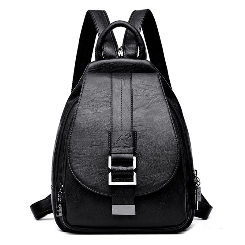 2019 Women Backpack Multifuction Female Backpack Casual School Bag For Teenager Girls High Quality Leather Shoulder Bag For Lady(China)