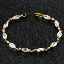 Женский браслет в форме капли однотонный желтый золотистый с
