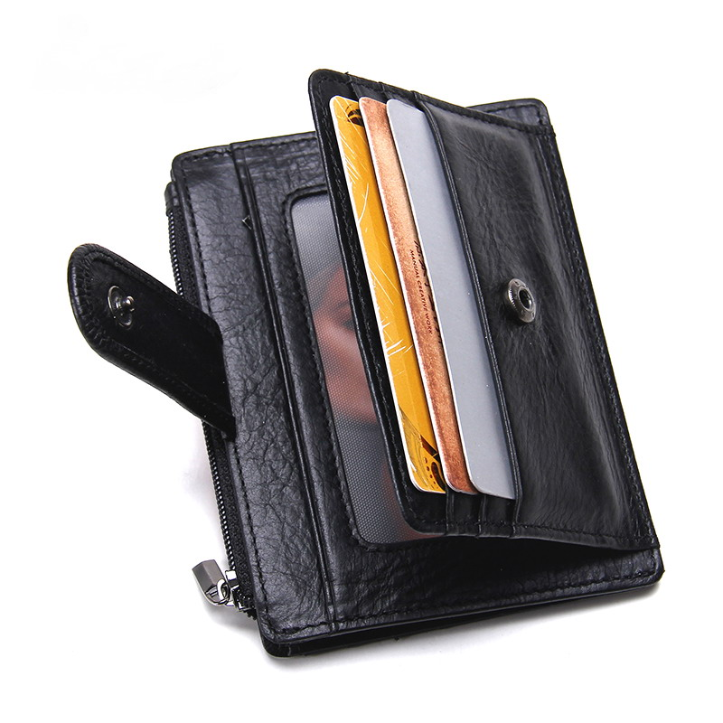 CONTACTS - Brand 2017 Genuine Leather Card Holder Mini Wallet Organizer Minimalist Short Slim Men Wallets Coin Purse Card Case