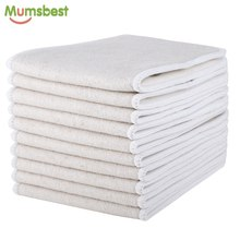 [Mumsbest]10pcs Hemp & Organic cotton Inserts 4 Layers Reusable Insert For Baby Cloth Diaper Babies Nappy Inserts Size: 14x35CM(China)