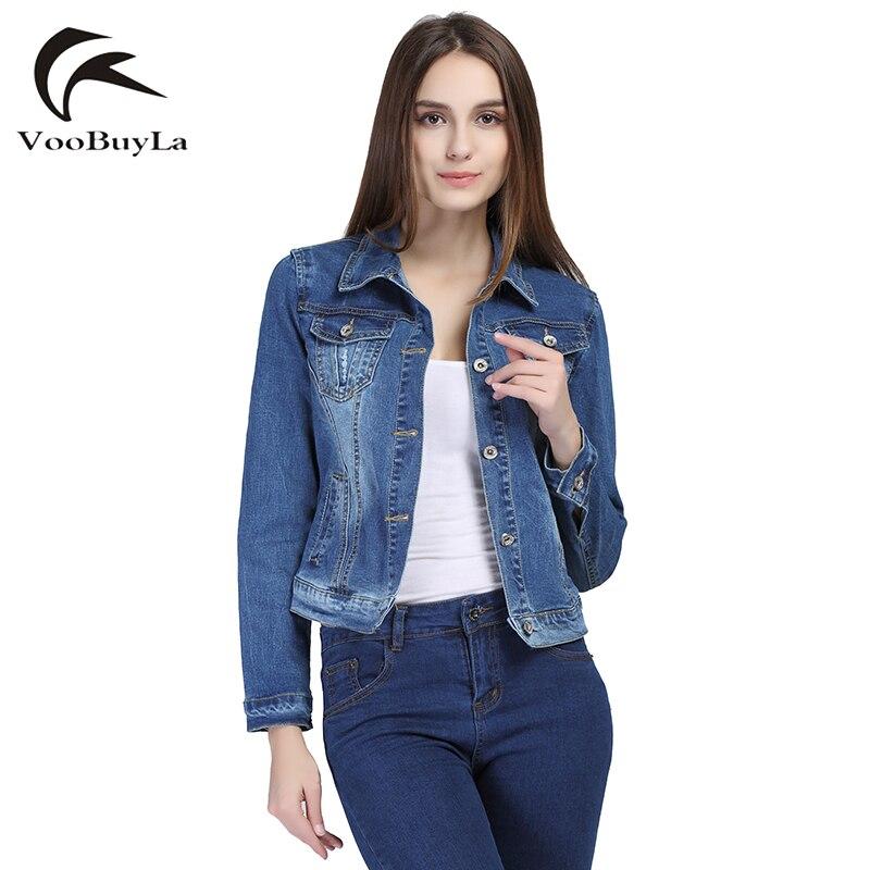 VooBuyLa Brand Fashion Jeans Jacket Women 2017 Plus Size 5XL 6XL Autumn  Hand Brush Long Sleeve
