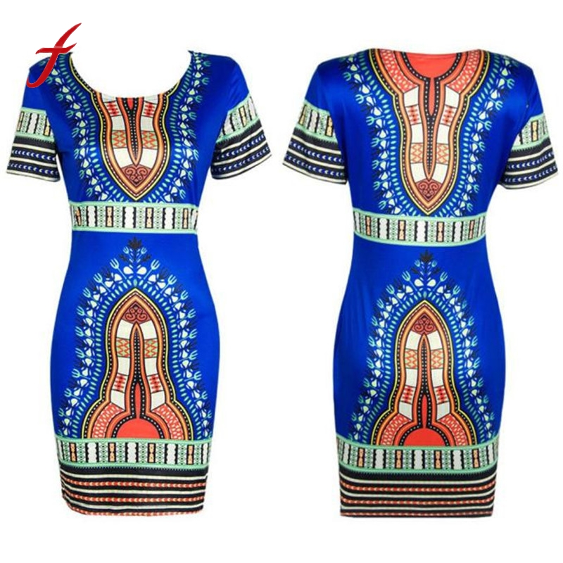Fashion Women Traditional African Print Dashiki Bodycon Dress 2016 Sexy Short Sleeve Party Mini Summer Dress Vestidos Plus Size summer casual bodycon dresses