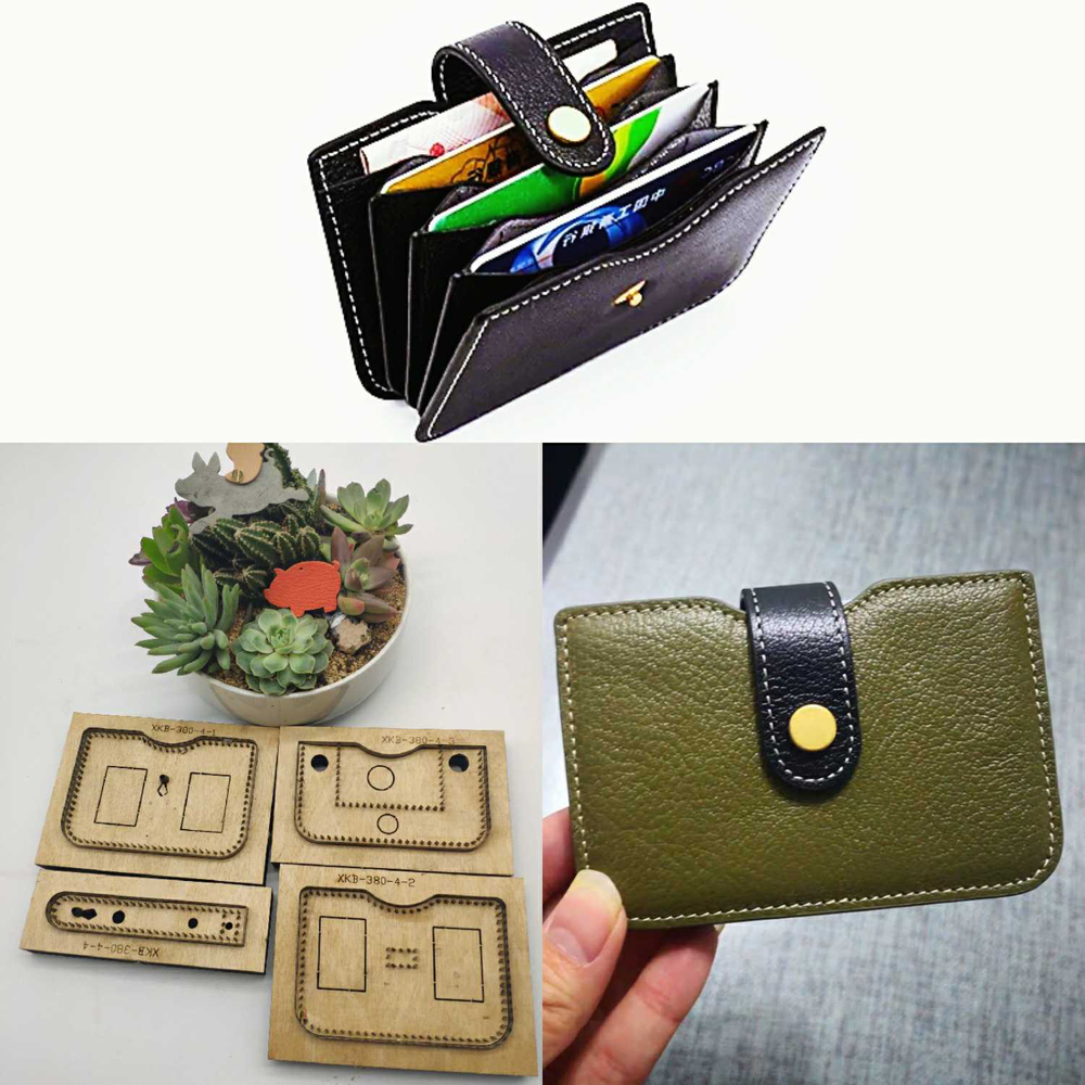 DIY leather craft multi layer card holder small wallet snap button belt die cutting knife mould