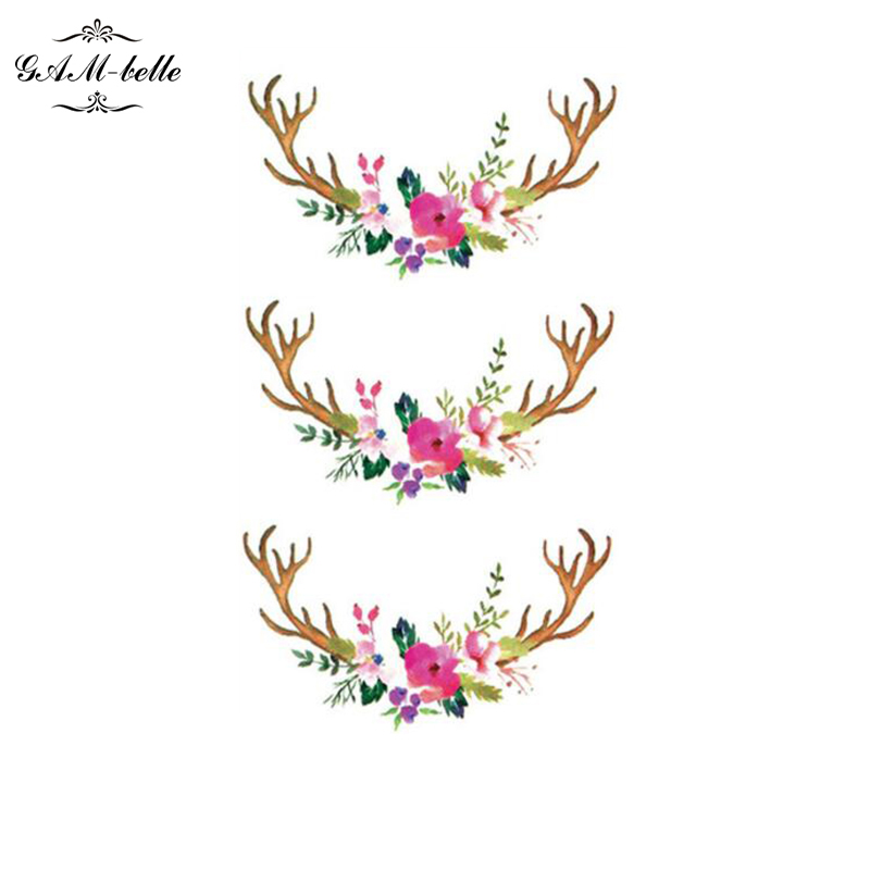 Antler Wreath Prevention Store Tattoo Stickers Waterproof Lasting Good Ideas Harajuku Small