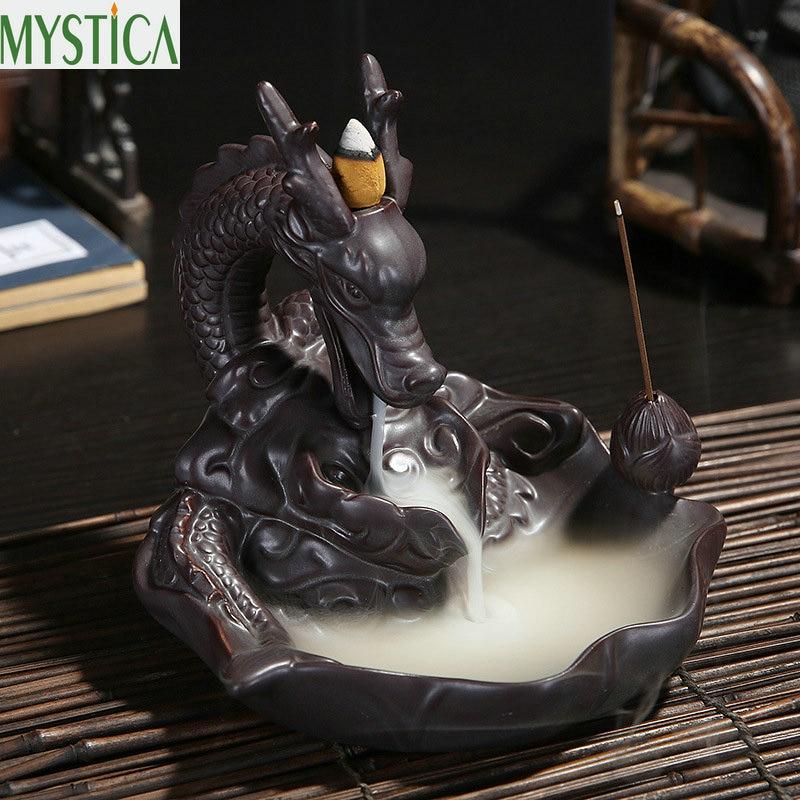 Nouveau brûleur d'encens en céramique Dragon Backflow encensoir en bois de santal Art artisanat cônes d'encens four décor à la maison ornements porte-encens