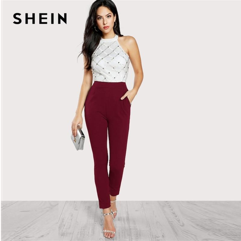 SHEIN Zip Back Halter Backless Pocket High Waist Skinny Jumpsuit Women 2019 Summer Maxi Deep V Neck Long Sleeve Jumpsuit