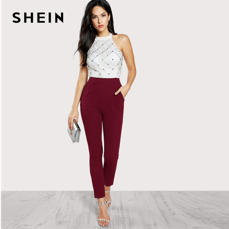 SHEIN Zip Back Halter Backless Pocket High Waist Skinny   Jumpsuit   Women 2019 Summer Maxi Deep V Neck Long Sleeve   Jumpsuit