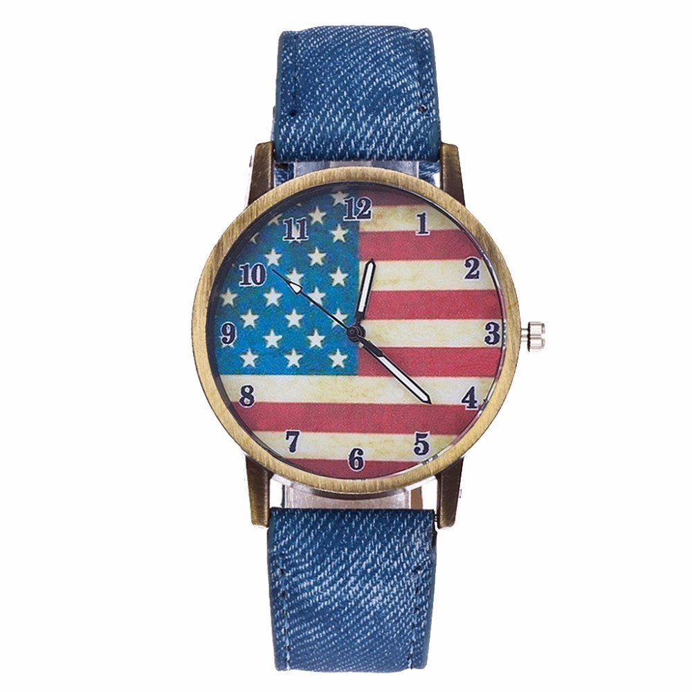 Hot Fashion Jeans Watch Women USA Flag Quartz Watches Unisex Casual Wrist Watch Relogio Feminino Christmas Gift Clock
