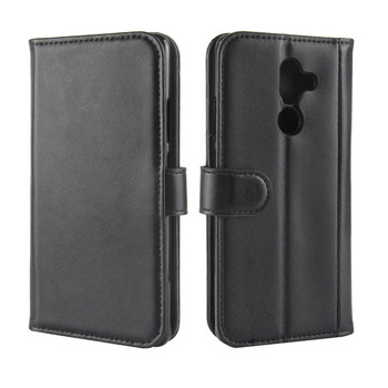 Genuine Leather Case for Nokia 7 Plus Cover 6.0 inch with Card Holder Stand Wallet Flip Cover for Nokia 7 Plus Case Black Brown