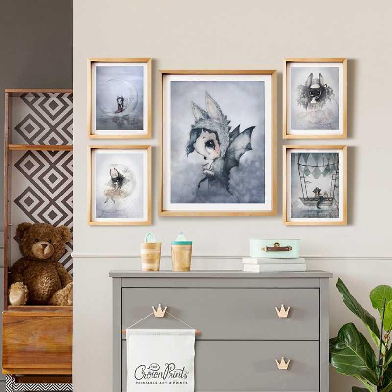 Современный кролик девушки Ангел живопись на холсте, мультфильмы спрей цвет художественный плакат Дети Детская комната Декор скандинавские настенные фрески