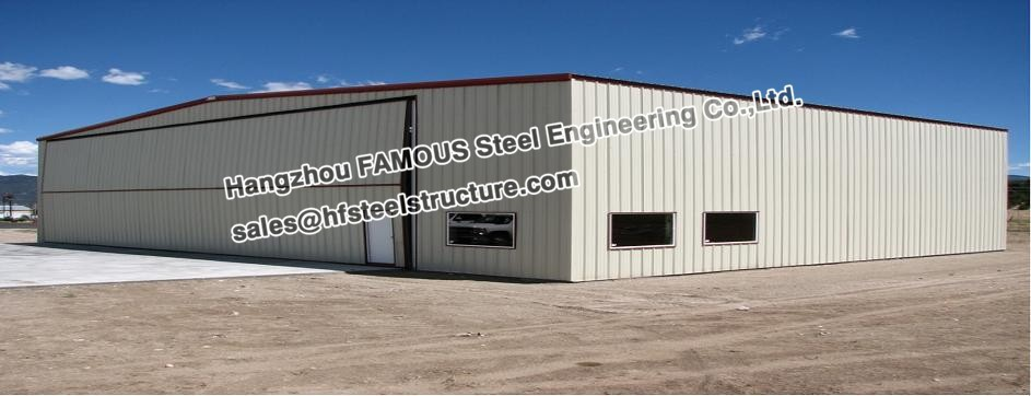 Single Bay PEB Steel Aircraft Hangars With Electrical Roll-up Doors