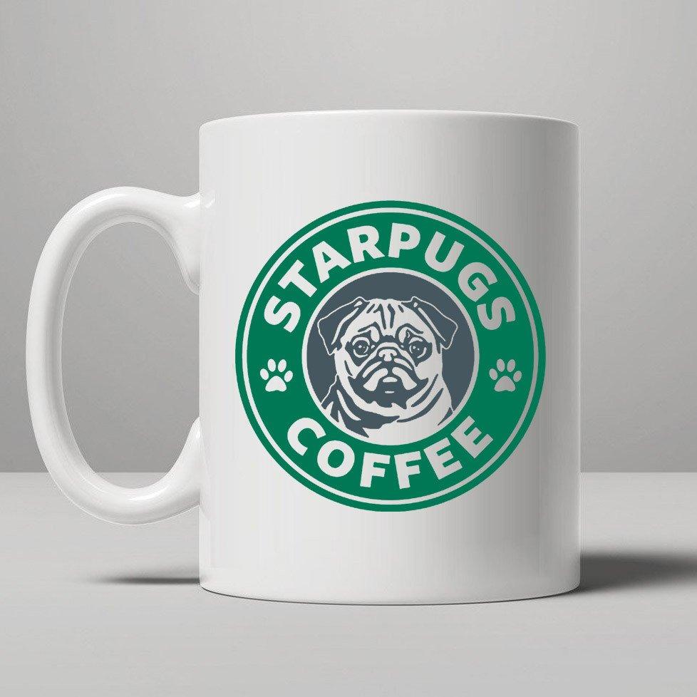 Star Pugs mugs coffee mug ceramic novelty porcelain beer tea cups home decal kitchen drinkware