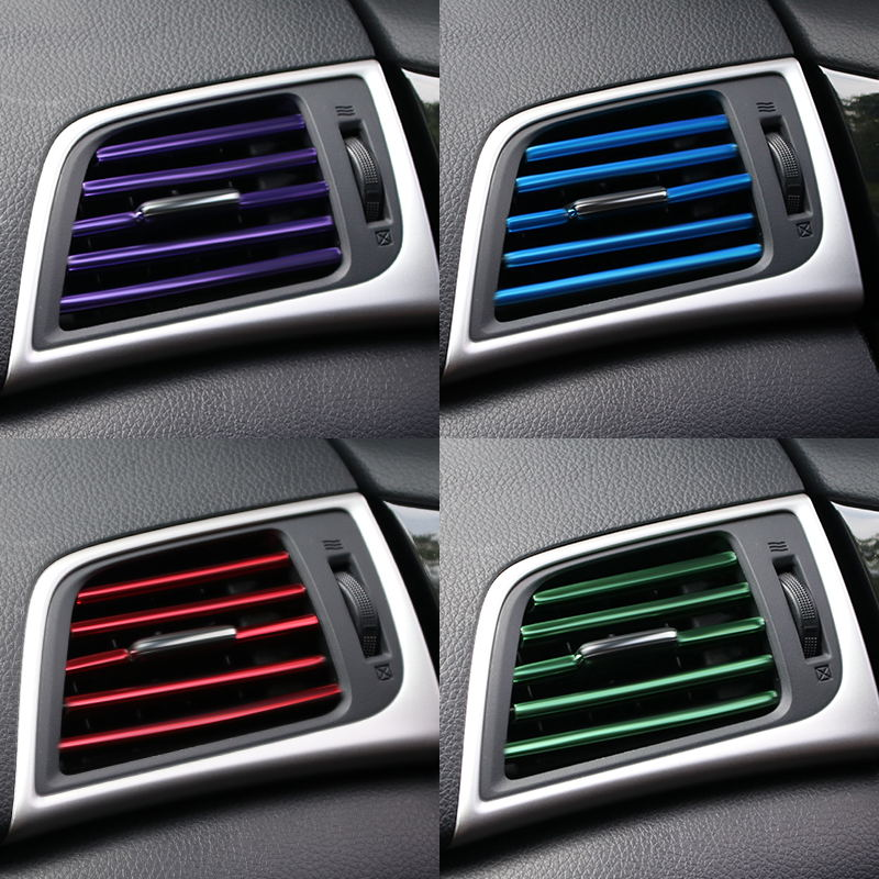 U Shape DIY Car-styling Interior Air Vent <font><b>Grille</b></font> Outlet Decoration Strip For <font><b>Audi</b></font> A3 <font><b>A4</b></font> A5 A6 A7 A8 B6 <font><b>B7</b></font> B8 C5 C6 TT Q3 Q5 Q7 image