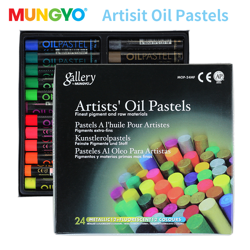 Mungyo 12/24 Colors Fluorescent Artist Soft Oil Pastel Dry Metallic Crayons For Drawing Heavy Color Chalks Stationery Office Wax