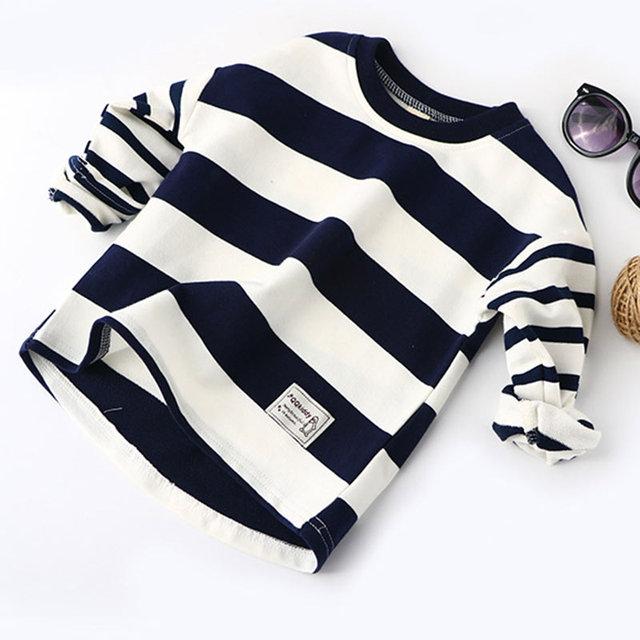 Boys Spring Hoodies Children Cotton Long Sleeve Sweatshirt Striped Casual Pullover Kids Boy Clothing Fashion O-Neck Sweatshirts 3