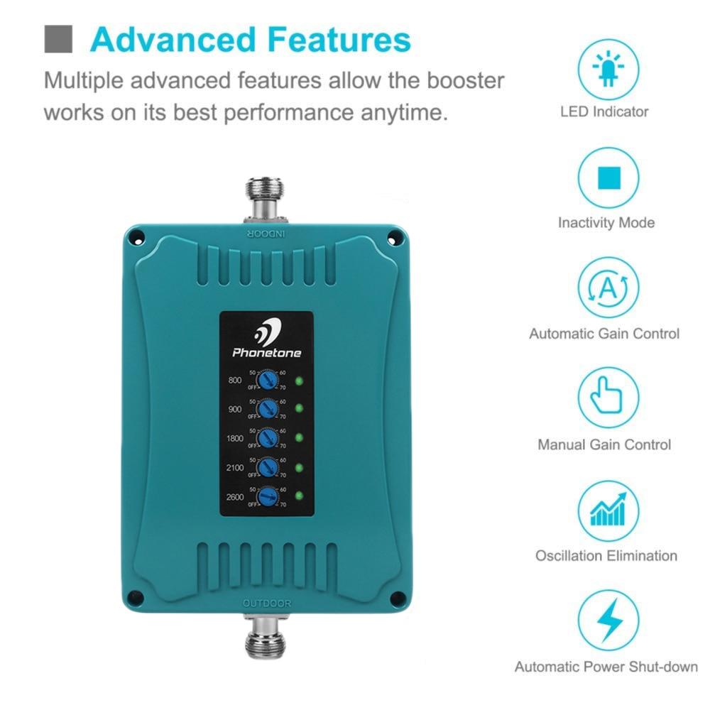 Amplificateur de Signal 2G 3G 4G B1/B3/B7/B8/B20 amplificateur de Signal LTE 900/1800/2100/800/2600 MHz répéteur de téléphone Mobile 5 bandes pour l'europe % - 3