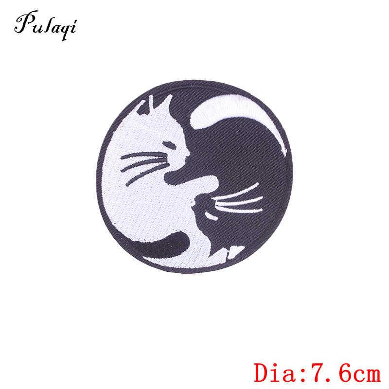 Yin Yang Símbolo Logo HIERRO O COSE EN Insignia Parche Bordado-Yin Yang Kitty