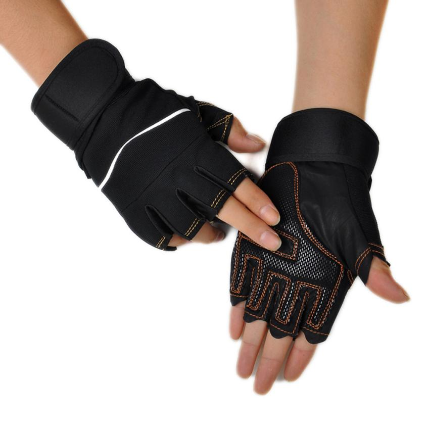 1 Pair Gym Gloves Outdoor Sport Gym Workout Weight Lifting Training Fingerless Gloves Pesas Gimnasio #W21