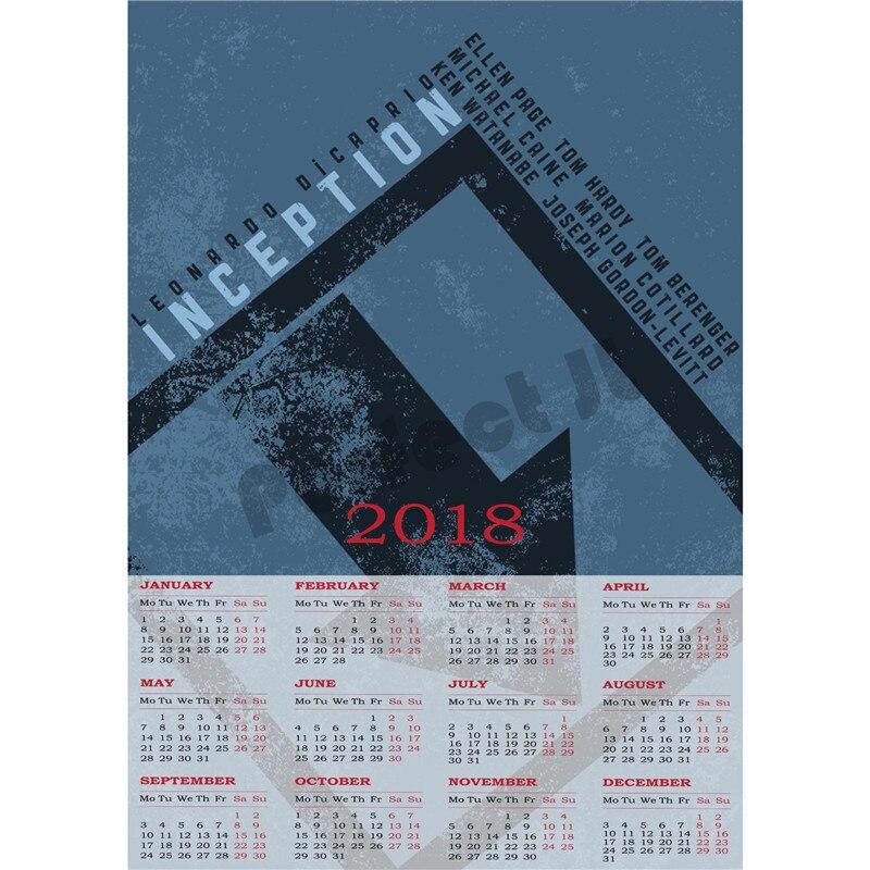 Создания 2018 календарь домашнего интерьера декоративные белая бумага с покрытием плакат стены Стикеры домашнего декора
