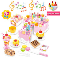 40/55/75/82pcs Simulation Birthday Cake Cutting with Lights and Music Pretend Play Kids Kitchen Food Toys for Girls 3years Gift