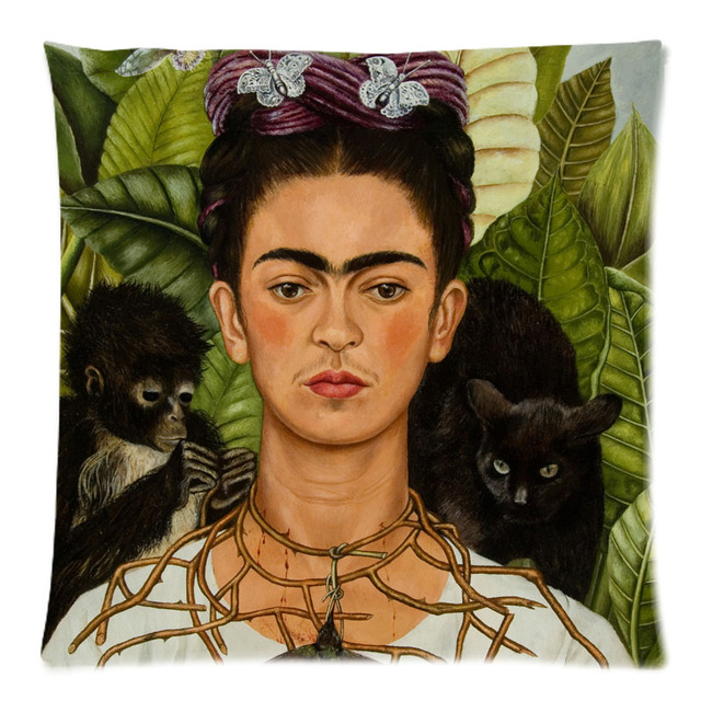 frida kahlo autoportrait motif deux c t imprim coton lin. Black Bedroom Furniture Sets. Home Design Ideas
