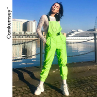 CamKemsey Fashion Neon Green Buckle Metal Chain Street Overalls Pants Women 2019 Spring Autumn Big Pockets Casual Jumpsuits
