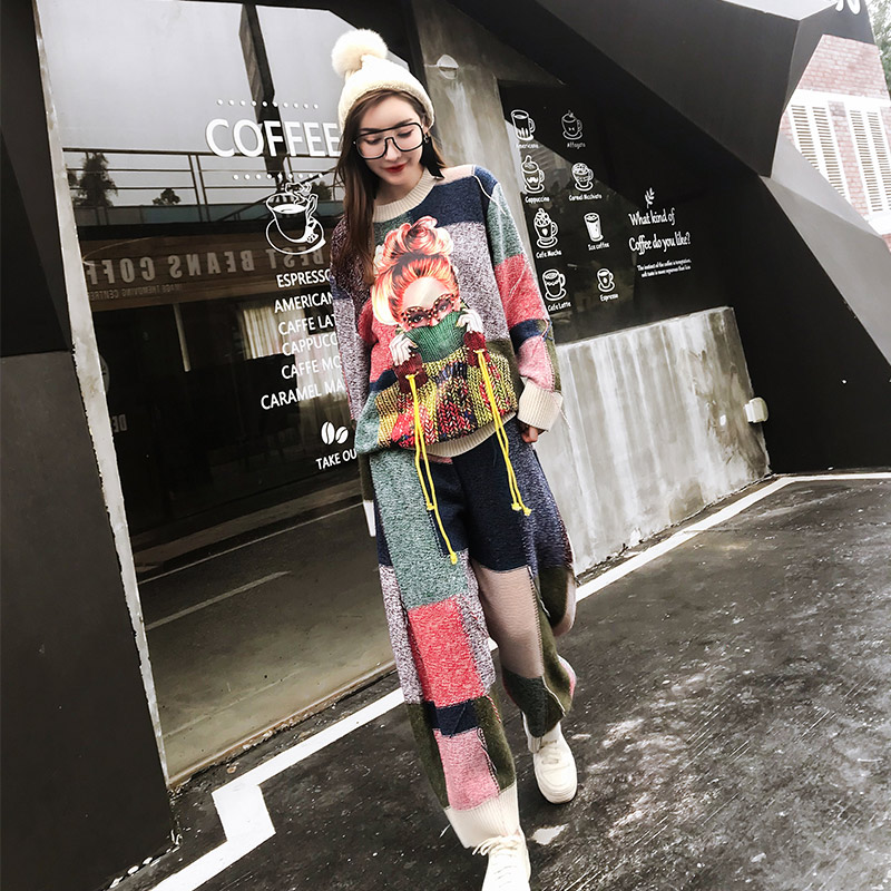 TREND Setter 2018 Lente Nieuwe Mode Breien Trui en Broek Vrouwen Set Jong Meisje Patroon en Kwastje Truien Casual-in Sets voor dames van Dames Kleding op  Groep 1