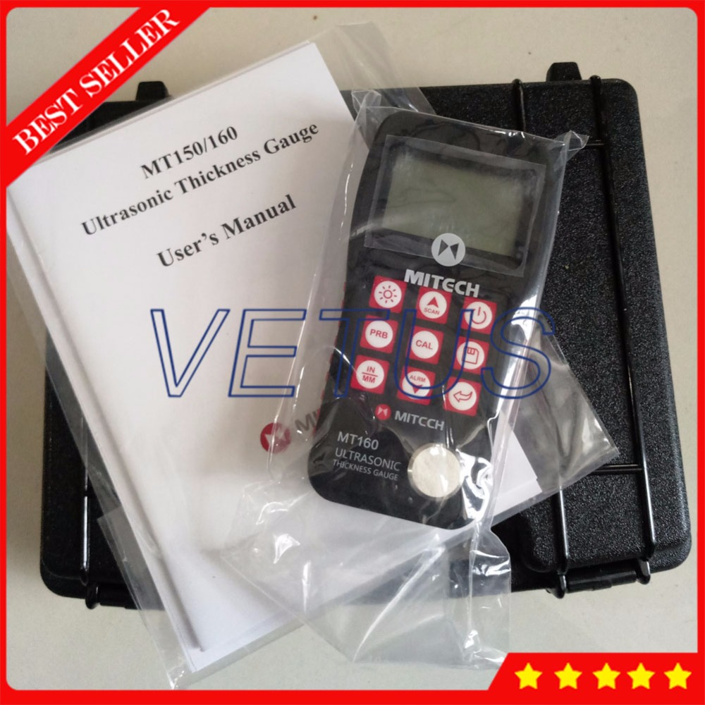 0.75-300mm range MT160 4.5 Digits LCD High Accuracy Ultrasonic Thickness Gauge for metal plastic ceramic glass tester meter
