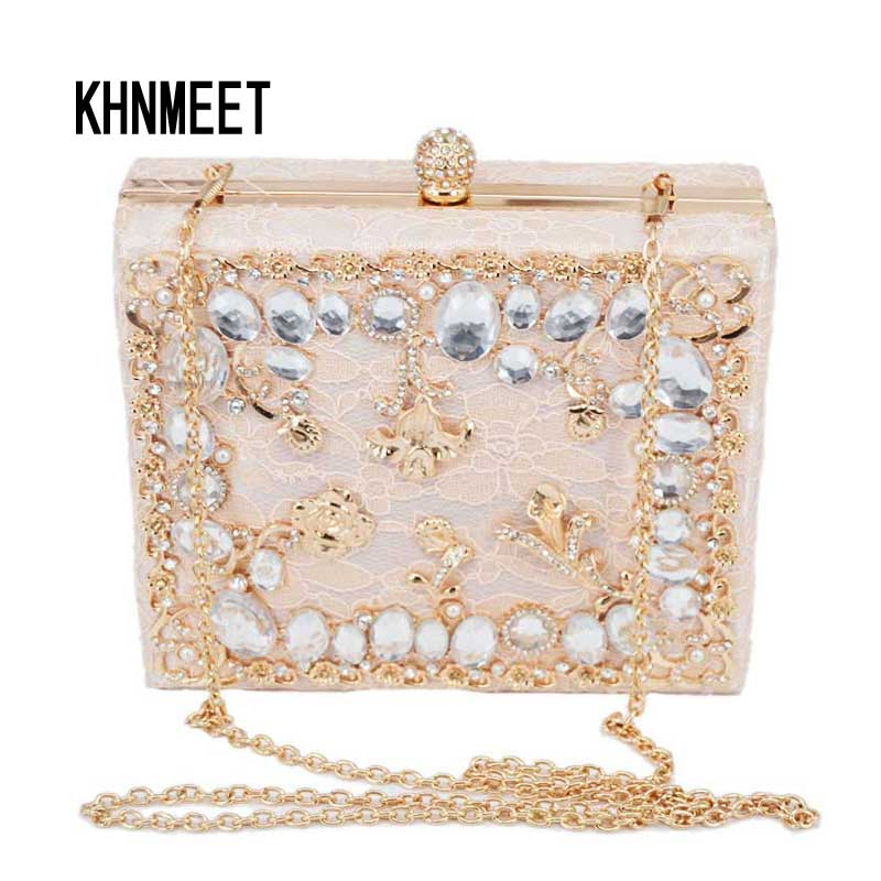 Fashion Pale pink Luxury lace diamonds party purse Evening