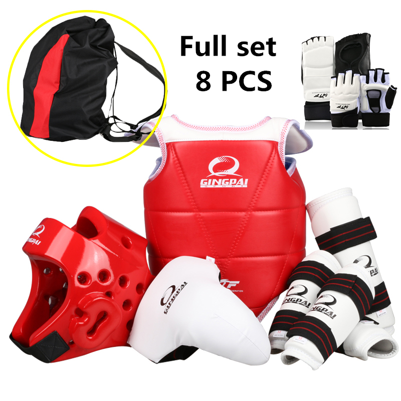 New Adult kids taekwondo thickening wtf taekwondo protection 8pcs taekwondo protector chest protector karate helmet taekwondo protective gear set wtf hand chest protector foot shin arm groin guard helmet 8pcs children adult taekwondo karate set page 8