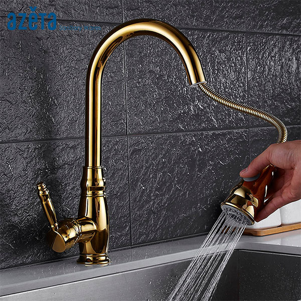 Azeta Golden Pull Out Kitchen Faucet 360 Degree Rotation Torneira Cozinha Deck Mounted Hot Cold Water Kitchen Sink Tap AT7618GAzeta Golden Pull Out Kitchen Faucet 360 Degree Rotation Torneira Cozinha Deck Mounted Hot Cold Water Kitchen Sink Tap AT7618G