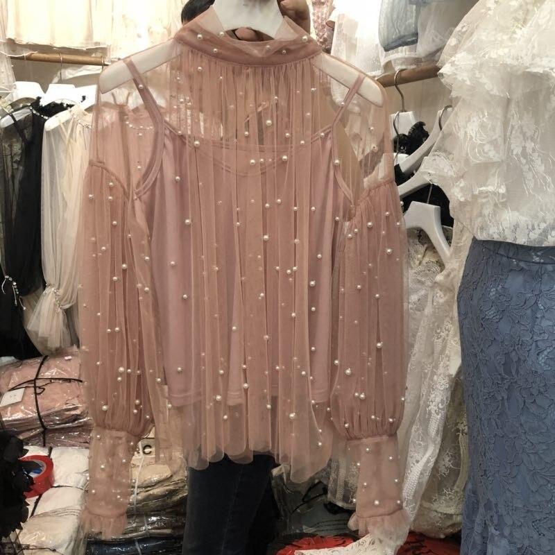 Femmes Manches Beige Princesse Mode Deux pièce Longues Doux Dentelle De rose Nouveau Perle 2018 À Perspective noir Blouse Printemps Gaze Chemise Tops 8wOXnP0k