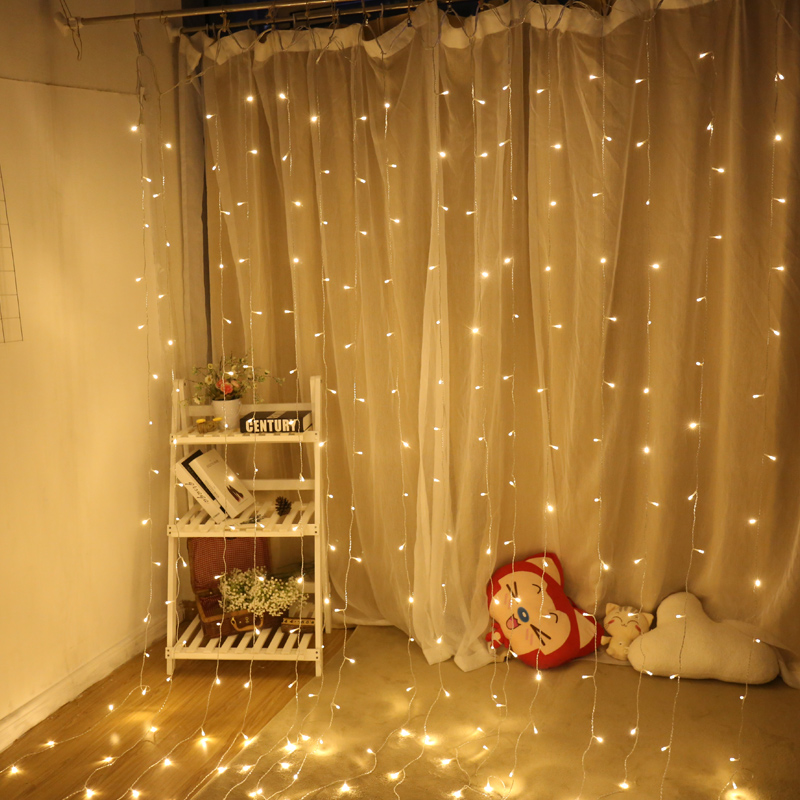 Connectable 3M X 3M LED Window Curtain 300leds String Lights Flash Fairy Garland For New Year Christmas Wedding Home Decoration