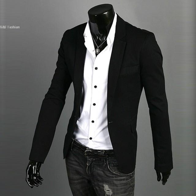 Nuevo 2013 hombres Calientes Blazer Estilo Delgado Fit Zip Casual Suit Coat Un Botón Chaquetas 3 Colores M-XXL de La Gota gratis